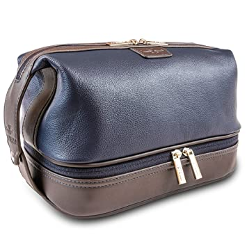 da2f0ae78e03 Amazon.com   Vetelli Leo Leather Toiletry Bag for Men - Dopp Kit - Handmade  for Travelling Vacations and Adventures. The ultimate gift and travel  accessory.