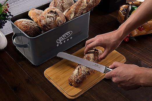 GA Homefavor Panera Contenedor de Cocina para el Pan con Tapa de bambú, 30 * 16.5 * 15cm