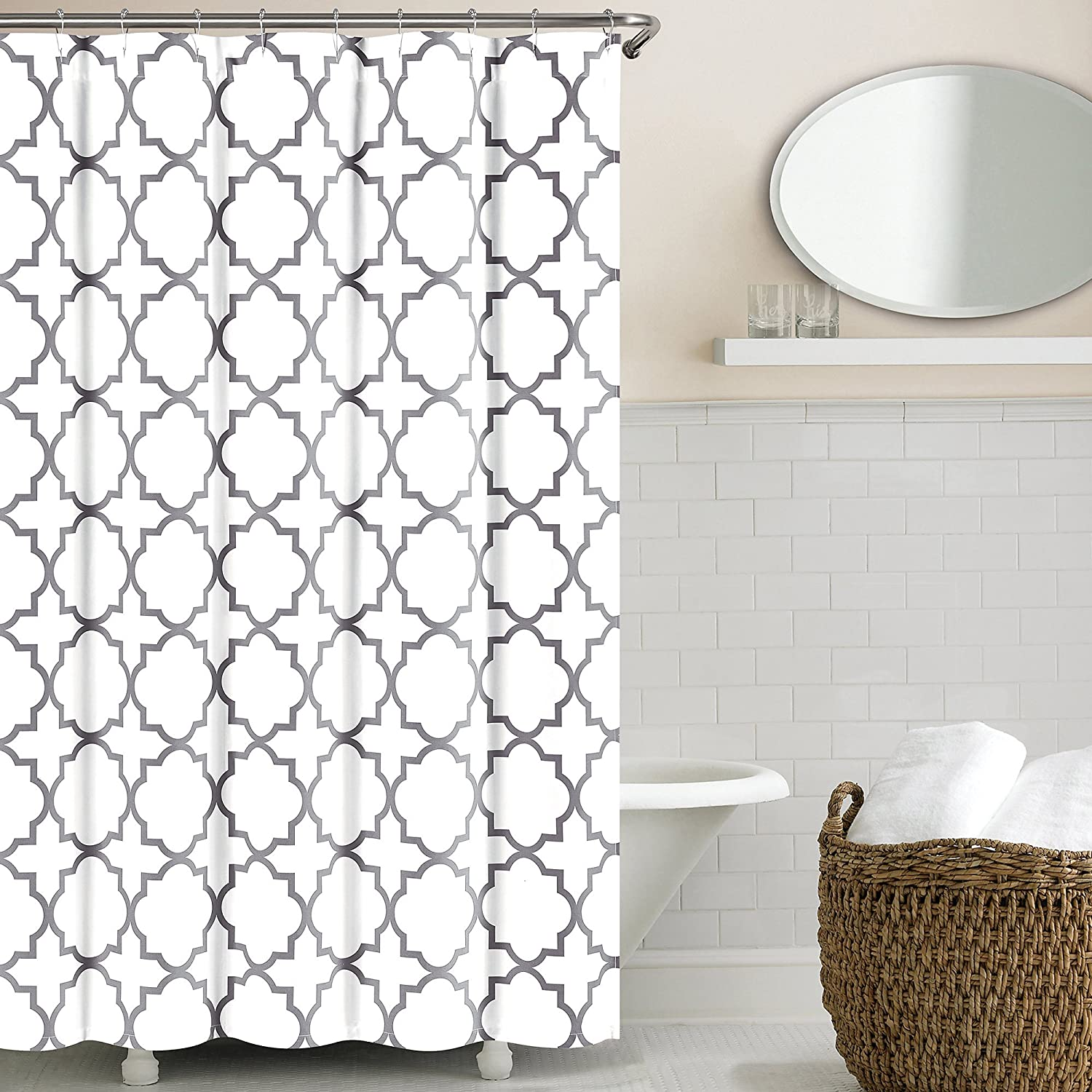 Amazon.com: Echelon Home Quatrefoil Shower Curtain, Zinc: Home & Kitchen - Amazon.com: Echelon Home Quatrefoil Shower Curtain, Zinc: Home