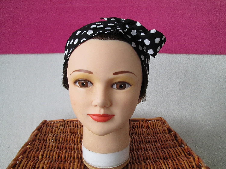 Foulard, turban chimio, bandeau pirate au féminin noir et pois blancs