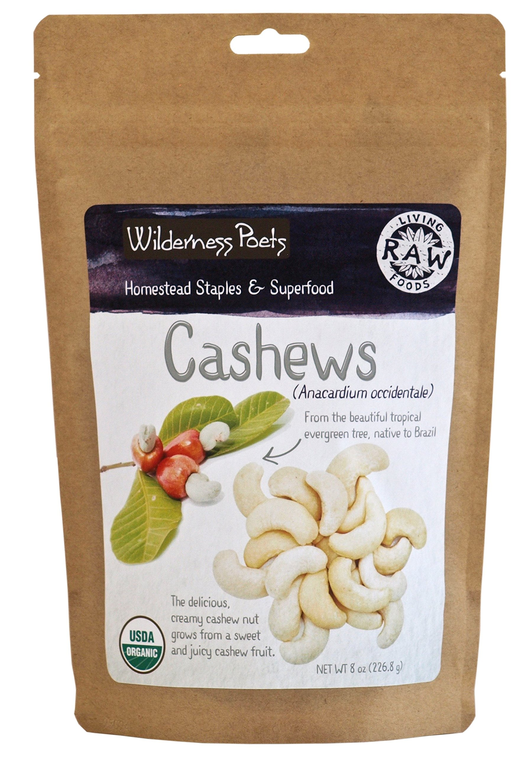 Wilderness Poets Cashews - Organic Raw Cashew Nuts, 8 Ounce (227 Grams)