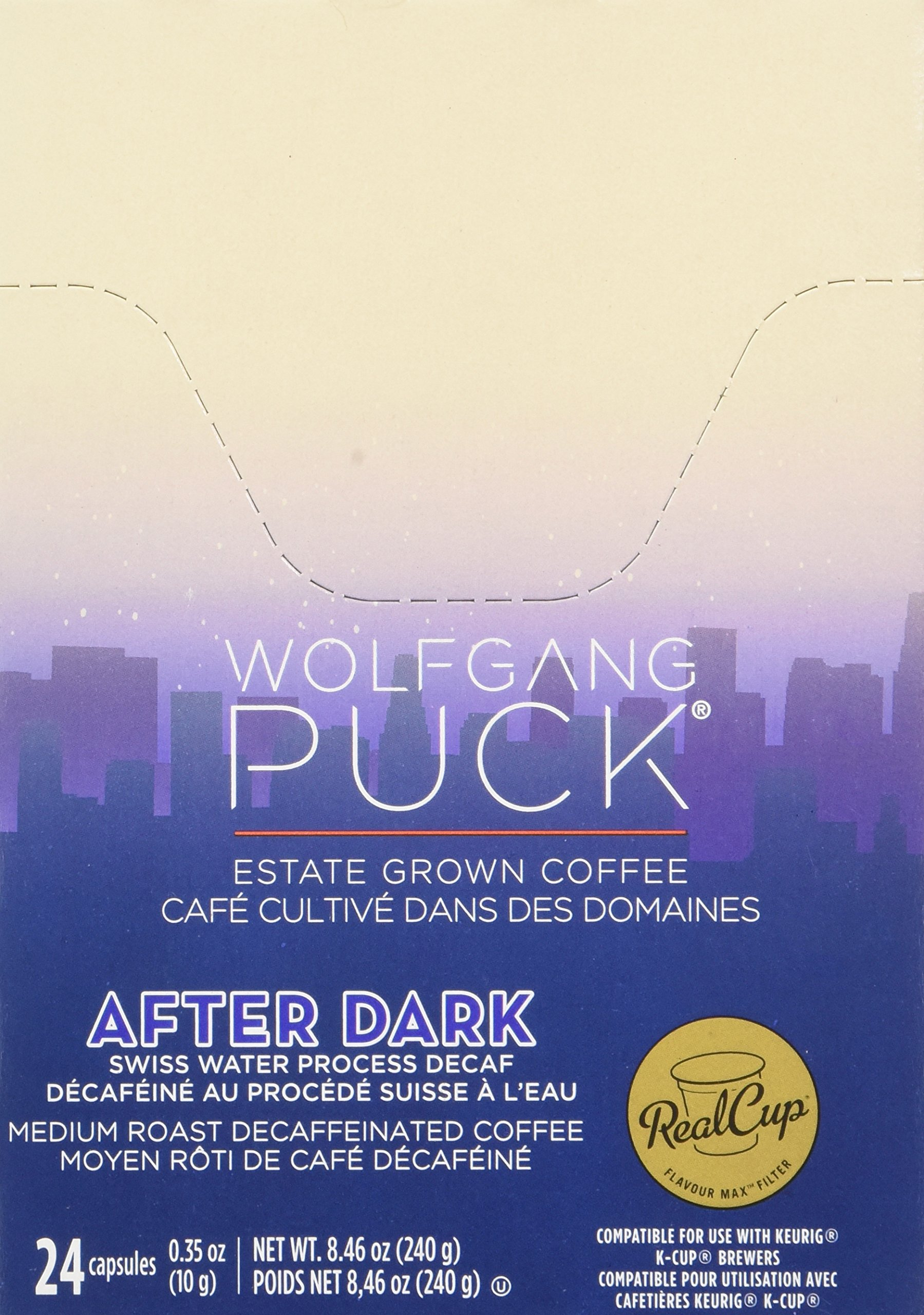 Wolfgang Puck Decaf Coffee for Single Serve Cups, After Dark, 24 Count