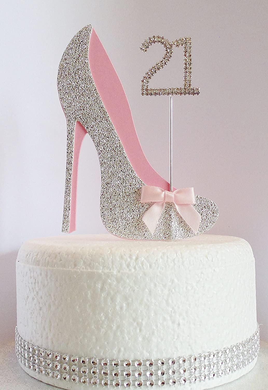21st Birthday Cake Ideas.21st Birthday Cake Decoration Shoe With Diamante Number Non Edible Silver Pink Age 21