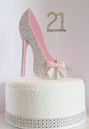 21st Birthday Cake Decoration Shoe With Diamante Number Non Edible Silver Pink Age