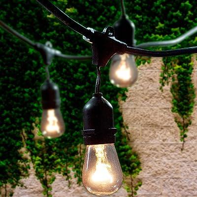 Lemontec Commercial Grade Outdoor String Lights with 15 Hanging Sockets - 48 Ft Black Weatherproof Cord Weatherproof Strand for Patio Garden Porch Backyard Party Deck Yard – S14 Black : Garden & Outdoor