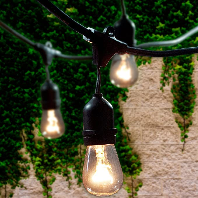 Black Waterproof IP65 Connectable Strand for Patio Garden Backyard T-mark 48 Ft Commercial Grade Outdoor String Lights with 15 x E26 Sockets and Hanging Loops 16 x 11 Watt Edison S14 Bulbs 1 Spare