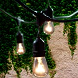 Amazon Price History for:Lemontec Commercial Grade Outdoor String Lights with 15 Hanging Sockets - 48 Ft black weatherproof cord Weatherproof Strand for Patio Garden Porch Backyard Party Deck Yard – S14 Black