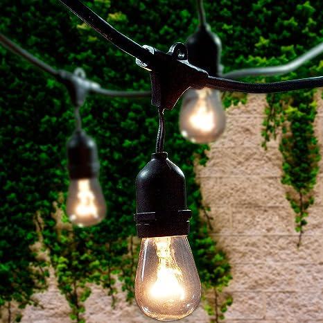 Amazon lemontec commercial grade outdoor string lights with 15 lemontec commercial grade outdoor string lights with 15 hanging sockets 48 ft black weatherproof cord workwithnaturefo