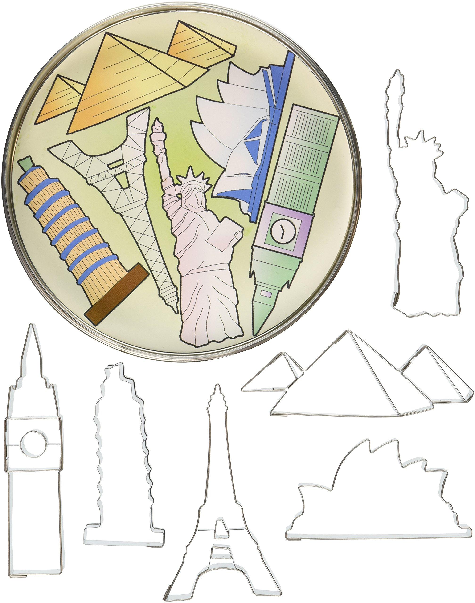 R&M International 1875 Landmarks Cookie Cutters, Big Ben, Sydney Opera House, Statue of Liberty, Pyramid, Eiffel Tower, Tower of Pisa, 6-Piece Set