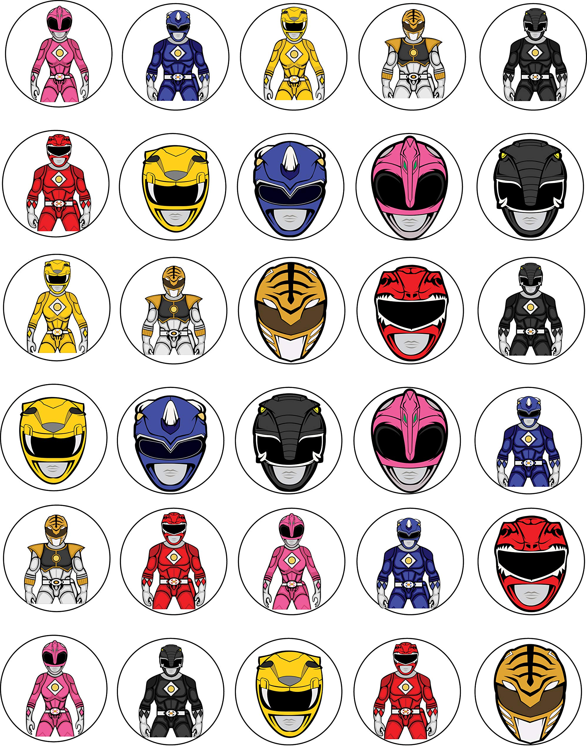 30 x Edible Cupcake Toppers - Power Rangers Themed Collection of Edible Cake Decorations | Uncut Edible Prints on Wafer Sheet