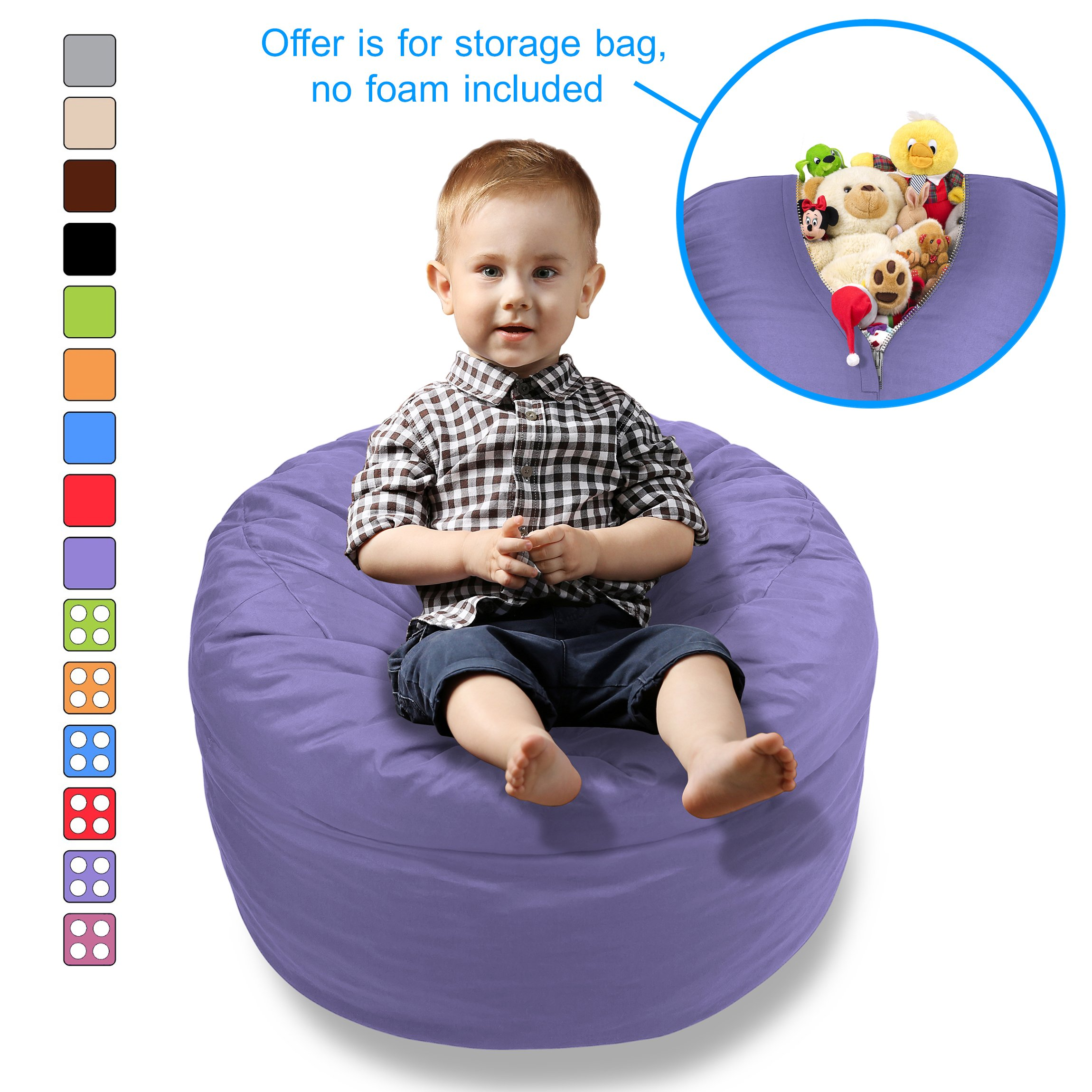 BeanBob Stuffed Animal Bean Bag - Kids Stuffed Animal Storage Bag Chair - Pouf Ottoman for Toy Storage (Medium - 2ft, Purple)
