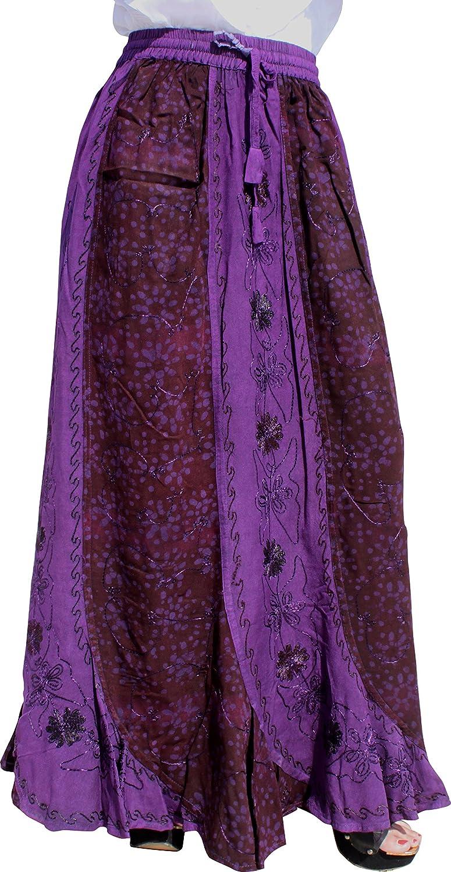 Raan Pah Muang RaanPahMuang Indian Rayon Vertical Patch Fish Tail Hem Elastic Waist Skirt X-Large Cardinal Red item519540AMZ