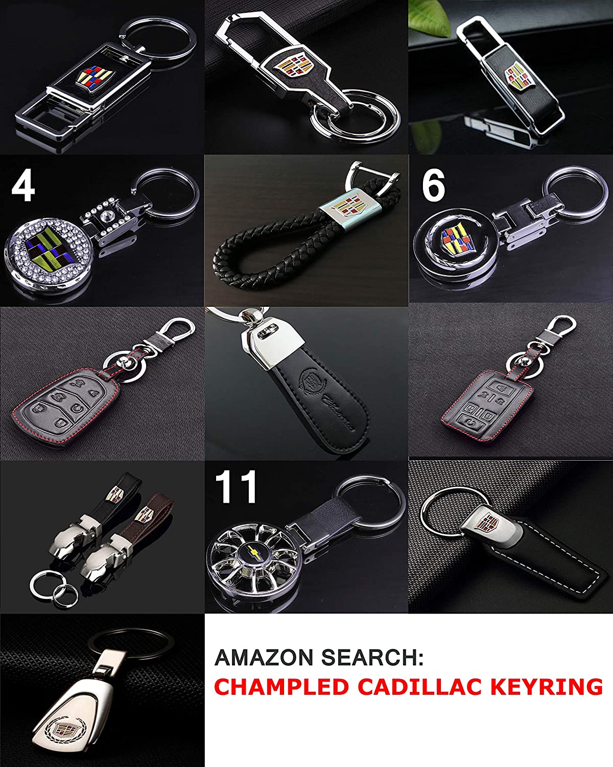 CHAMPLED CADILLAC Emblem Keychain Keyring Logo symbol sign badge personalized custom logotipo Quality Metal Alloy Nice Gift for Man Woman Chapled 4350397525