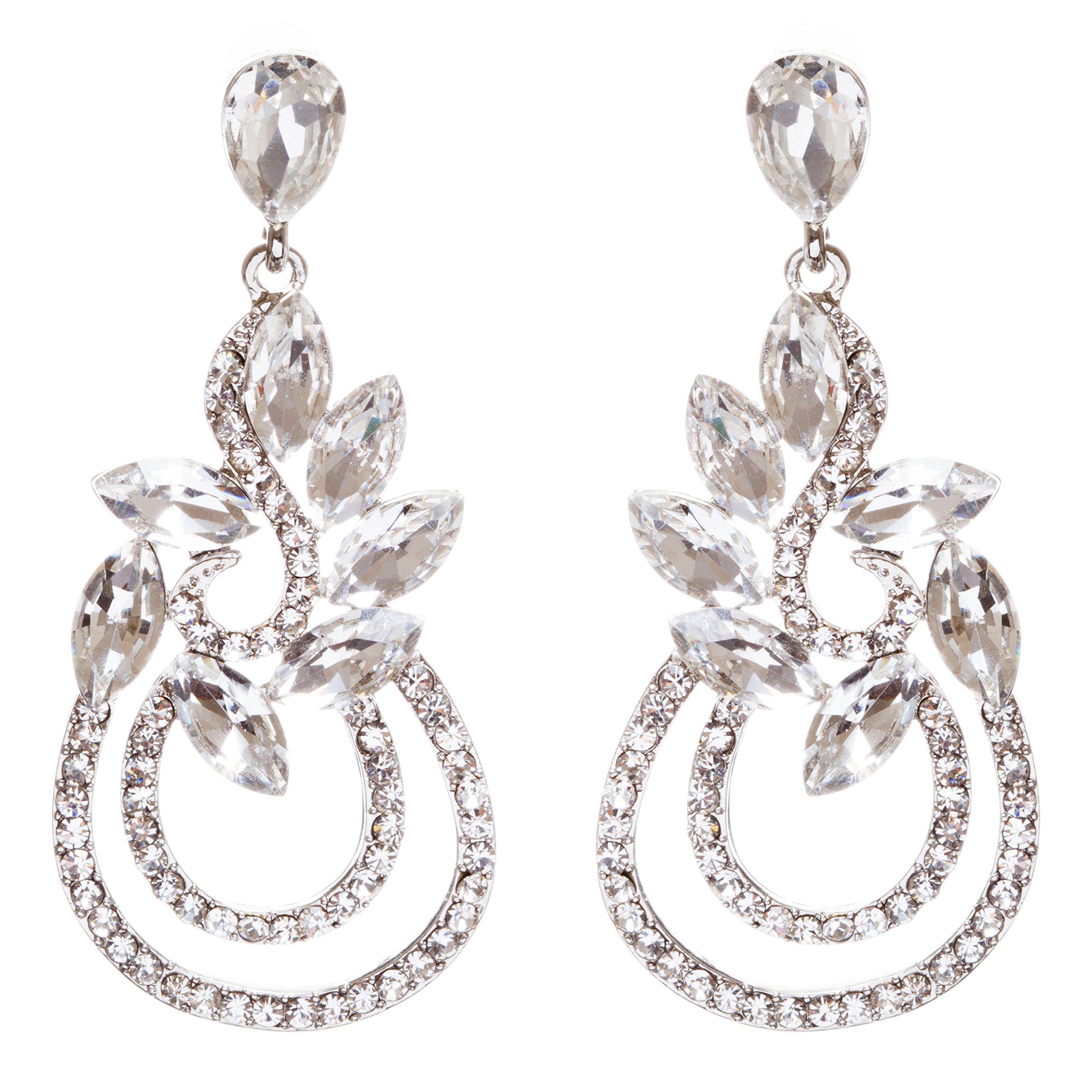 ACCESSORIESFOREVER Women Bridal Wedding Jewelry Crystal Rhinestone Elegant Dangle Earrings E951 Silver
