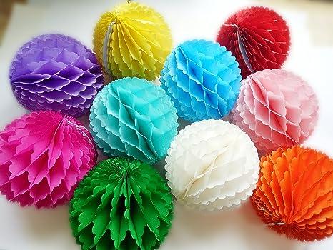 Style-2 Daily Mall 10pcs 8 inch 10 inch Honeycomb Balls Party Pom Poms Tissue Paper Honeycomb Balls Birthday Balls Decoration Wedding Partners Design Craft Hanging Pom-Pom Ball Home Nursery Decor