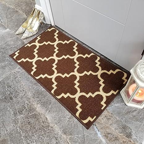 Doormat 18x30 Brown Trellis Kitchen Rugs and mats | Rubber Backed Non Skid  Rug Living Room Bathroom Nursery Home Decor Under Door Entryway Floor ...