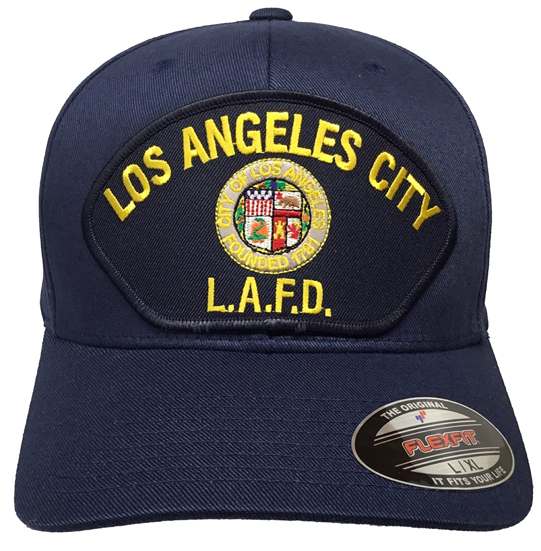 e695ac9a Amazon.com : Los Angeles Fire Department Hat Navy Flexfit Size L/XL ...