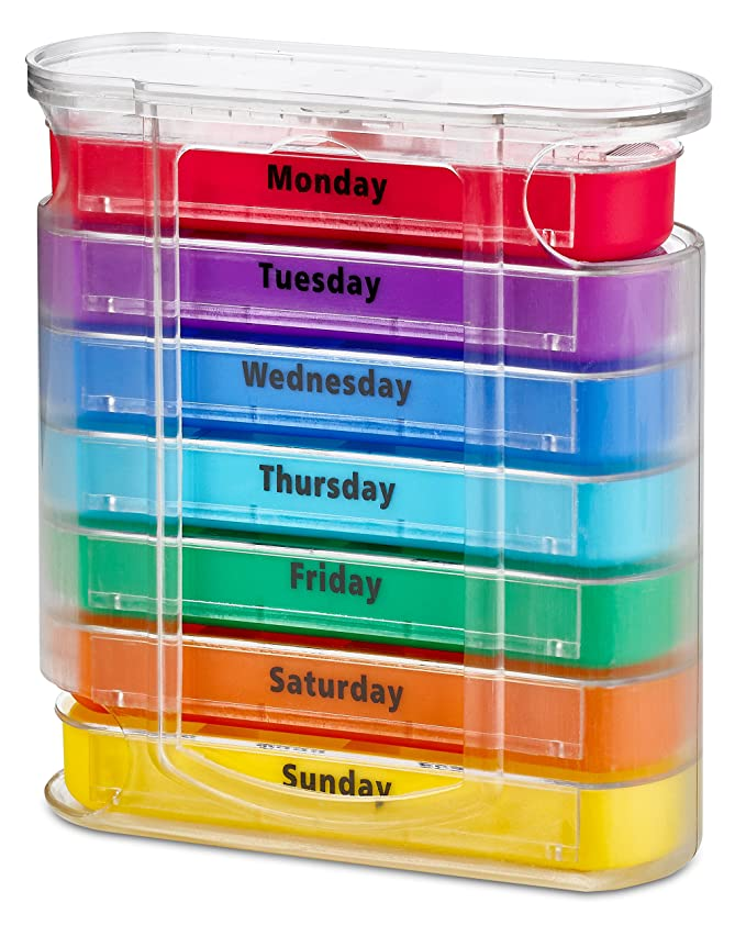 Organizador semanal de pastillas MEDca, para cuatro veces al día, dispensador con compartimientos para AM y PM: Amazon.es: Salud y cuidado personal