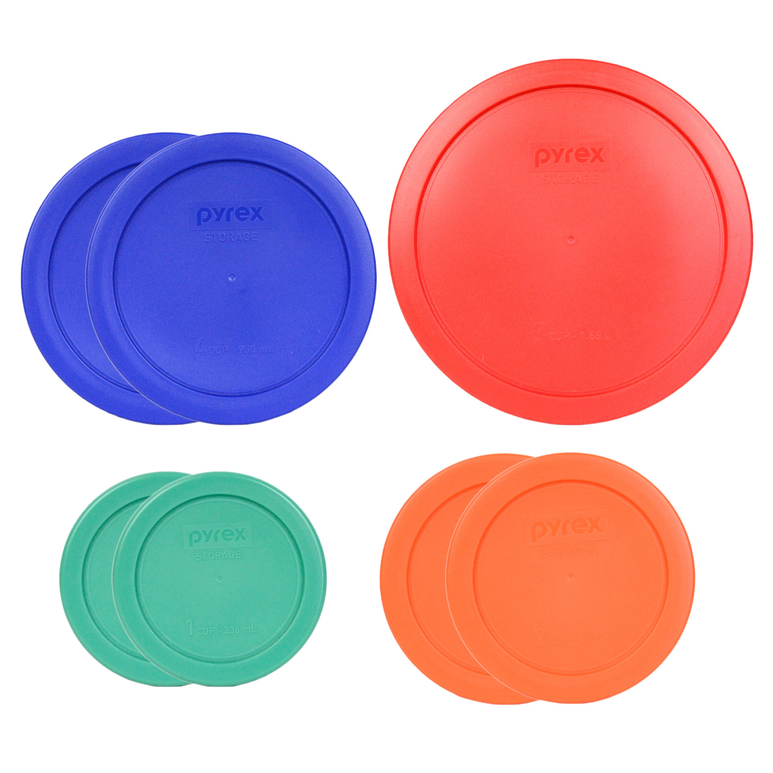 Pyrex (1) 7402-PC 6/7 Cup Red (2) 7201-PC 4 Cup Cobalt Blue (2) 7200-PC 2 Cup Orange (2) 7202-PC 1 Cup Green Food Storage Lids - 7 Pack by Pyrex