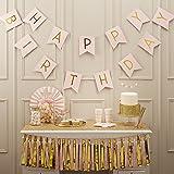 Ginger Ray pastel perfección y dorado laminado bandana y banderines de feliz cumpleaños, Rosa, Pancarta banderines para colga