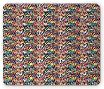 Geometric Mouse Pad Pixel Art Pattern With Colorful Pattern