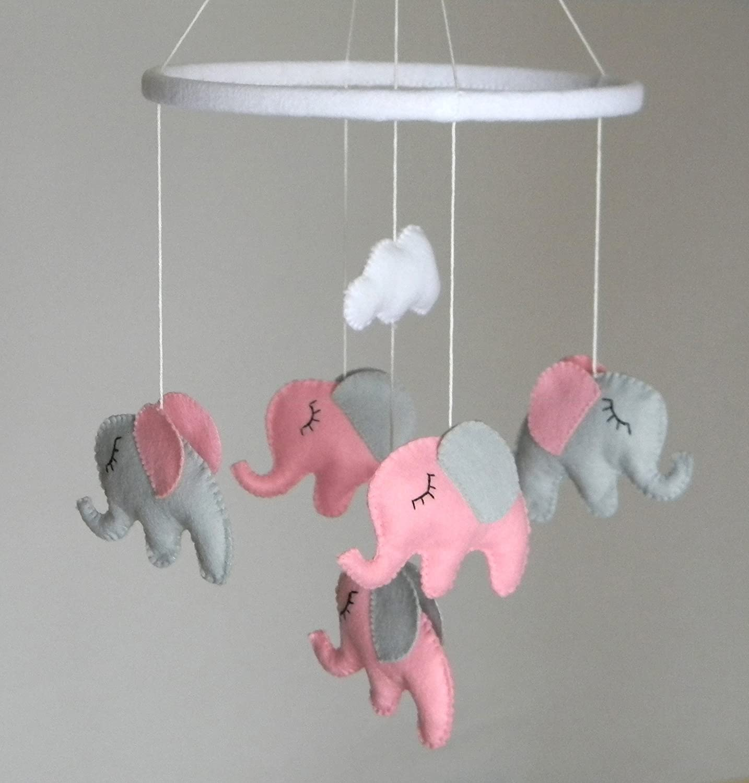 Baby Crib Mobile, Baby girl Mobile, Elephant Mobile, Nursery Mobile, pink grey nursery decor