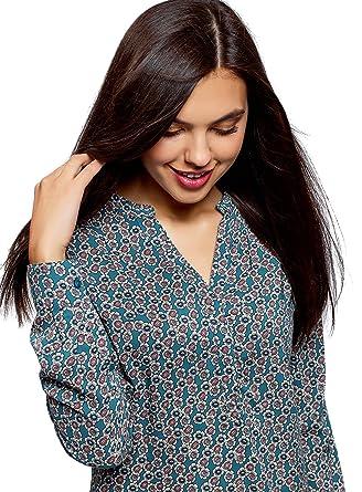 oodji Collection Mujer Blusa Recta de Viscosa: Amazon.es: Ropa y accesorios