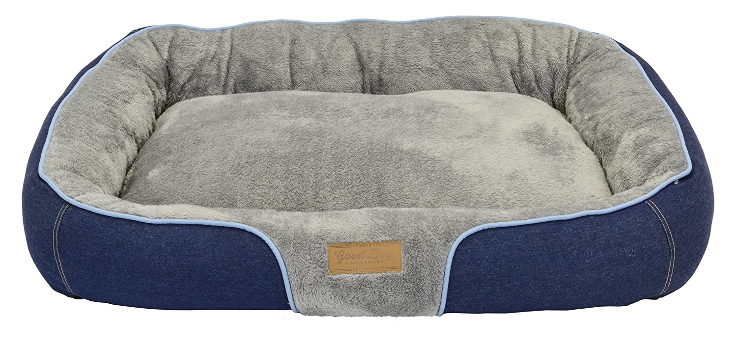 bluee Piping Dallas Manufacturing Co. 34 X25  large Bolster Dog Bed, Denim with bluee Piping