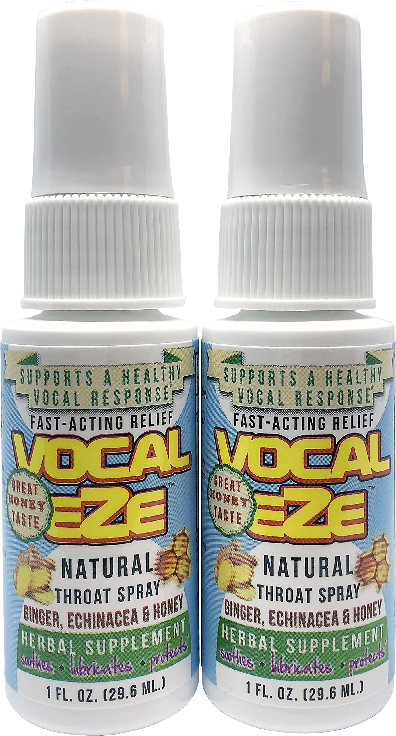 Herbal Throat Spray Professional Strength Vocal Eze, 2 pack, with Honey, Aloe, Echinacea, Ginger (vocaleze)