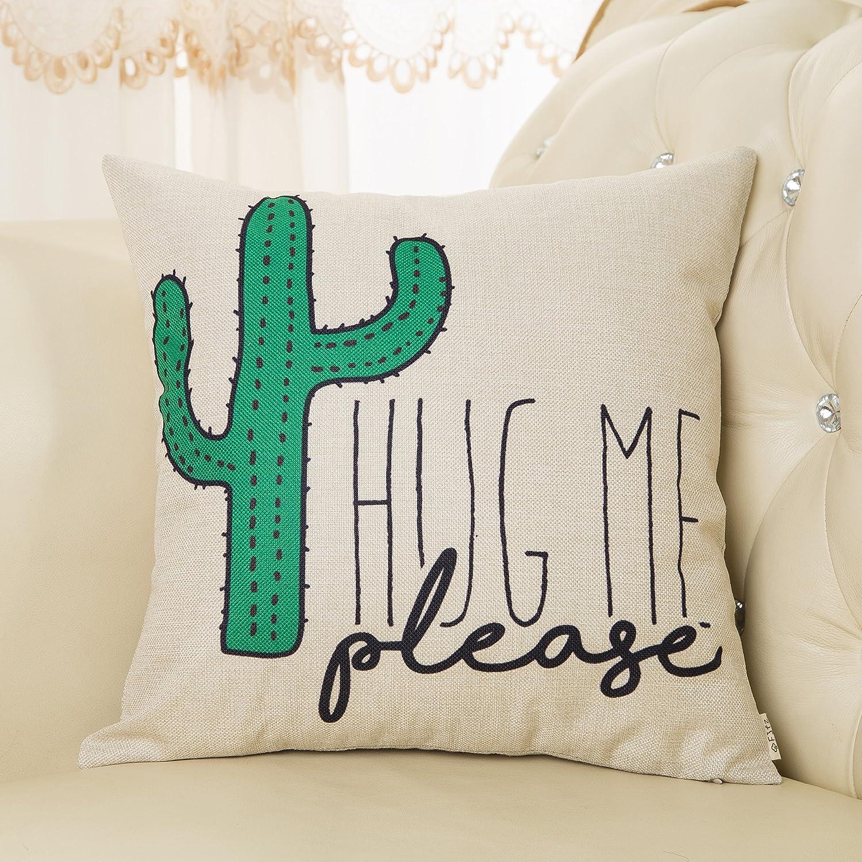 Amazon Fjfz Please Hug Me Cactus Funny Quote Cotton Linen Home