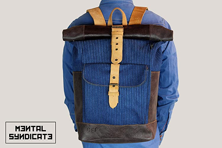 Amazon.com: Leather Backpack, Mens Backpack, Roll Top ...