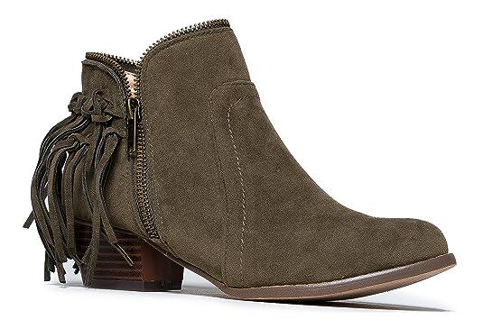 65e15a1944d J. Adams Bailey Fringe Boot - Closed Toe Low Heel Western Cowboy Ankle  Bootie