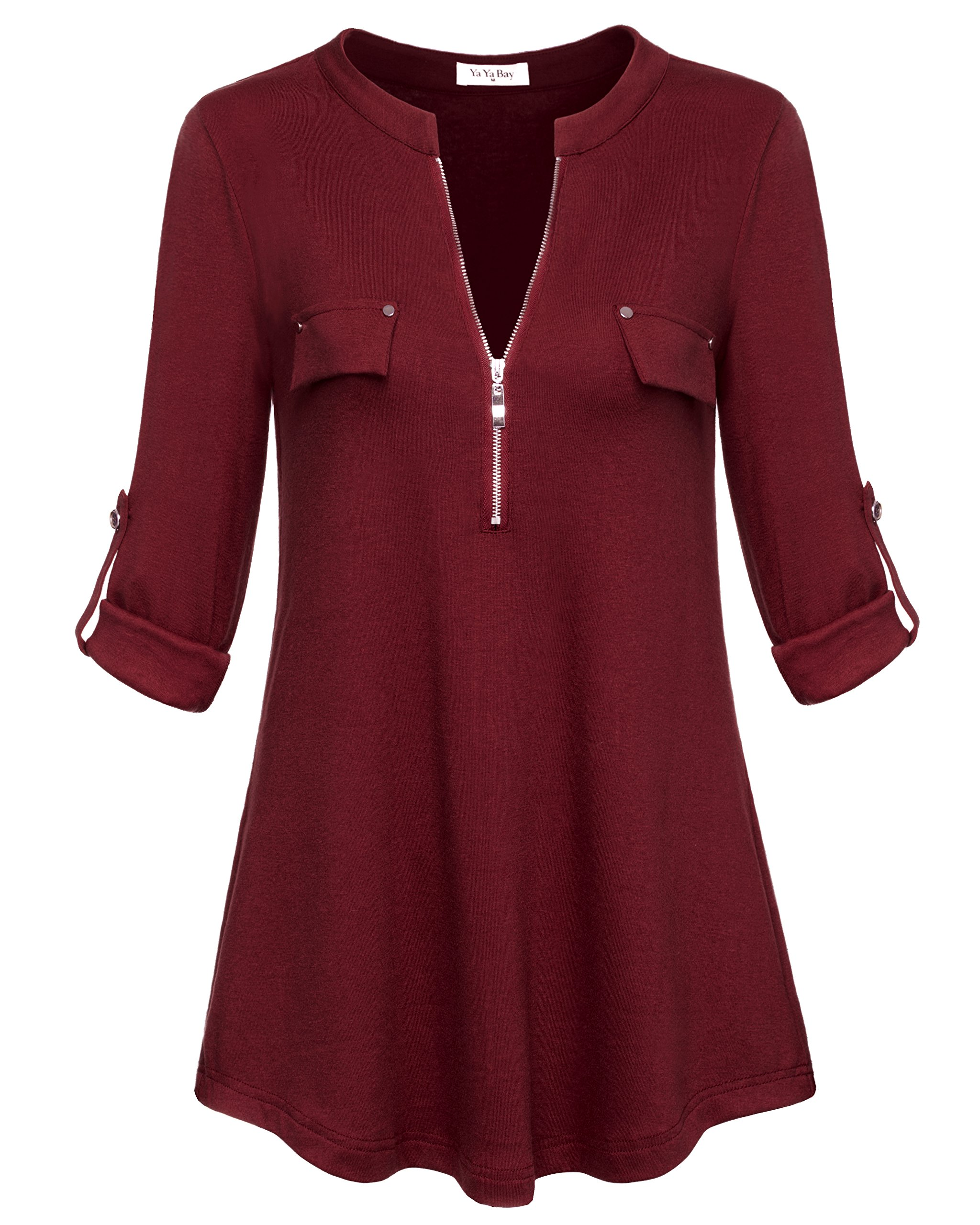 YaYa Bay Maternity Tunics, Neckline Design Ladies Long Sleeve Tunic Office Blouses with Pocket Zip Casual Blouses XXL Burgundy Blouse for Work