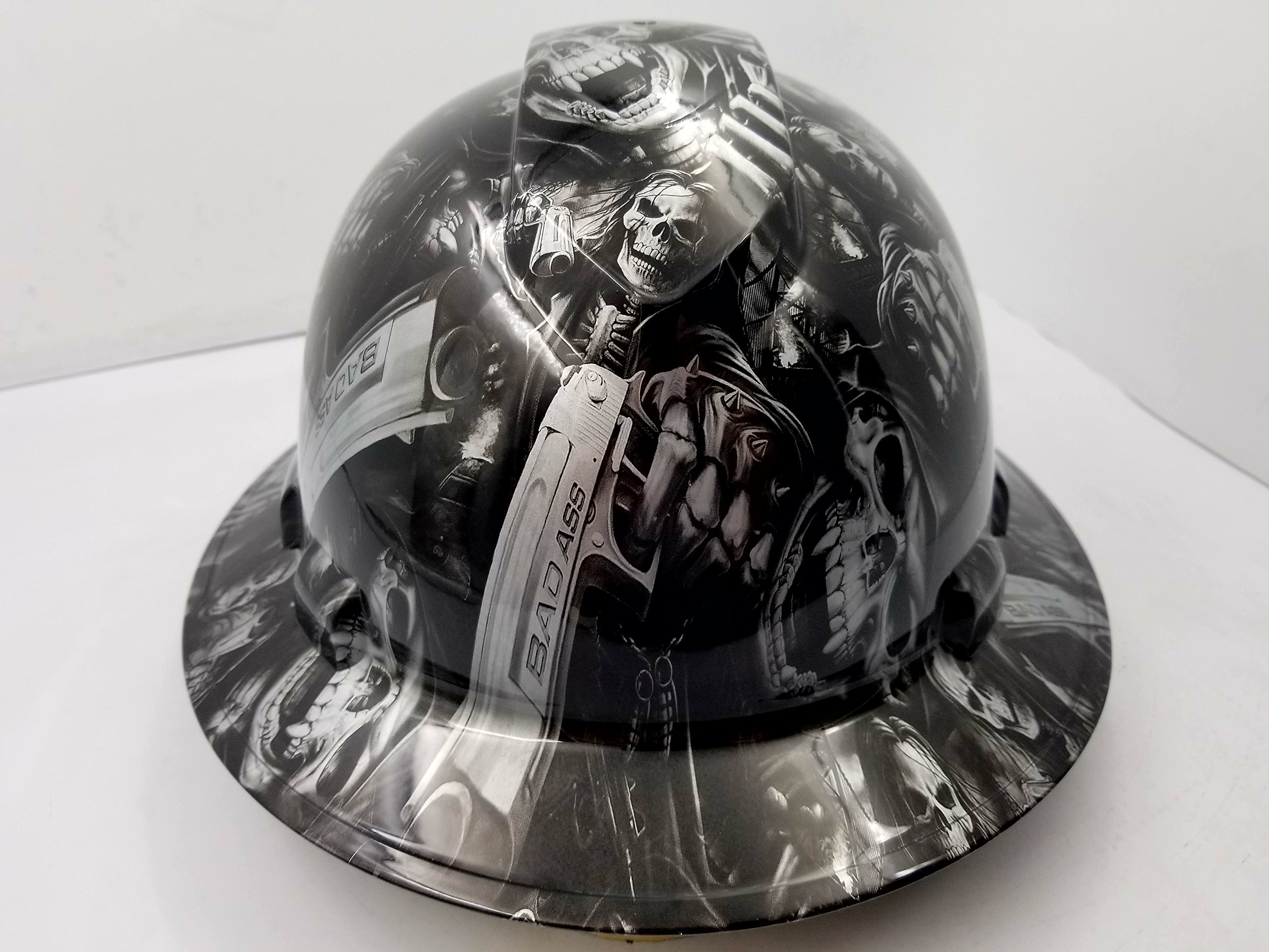 Wet Works Imaging Customized Pyramex Full Brim GRIM REAPER SKULL SHOOTER HARD HAT With Ratcheting Suspension CUSTOM LIDS CRAZY SICK CONSTRUCTION PPE