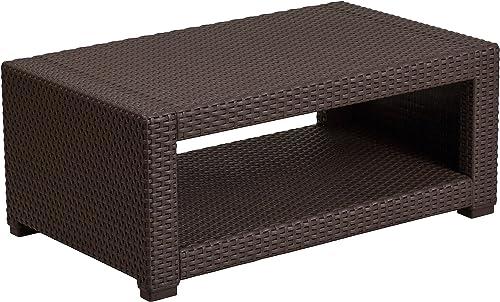 Flash Furniture Chocolate Brown Faux Rattan Coffee Table
