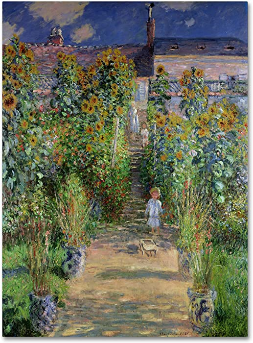 Theist's Garden at Vetheuil by Claude Monet work, 18 by 24-Inch Canvas Wall Art