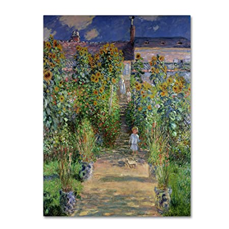 Theist s Garden at Vetheuil by Claude Monet work, 14 by 19-Inch Canvas Wall Art