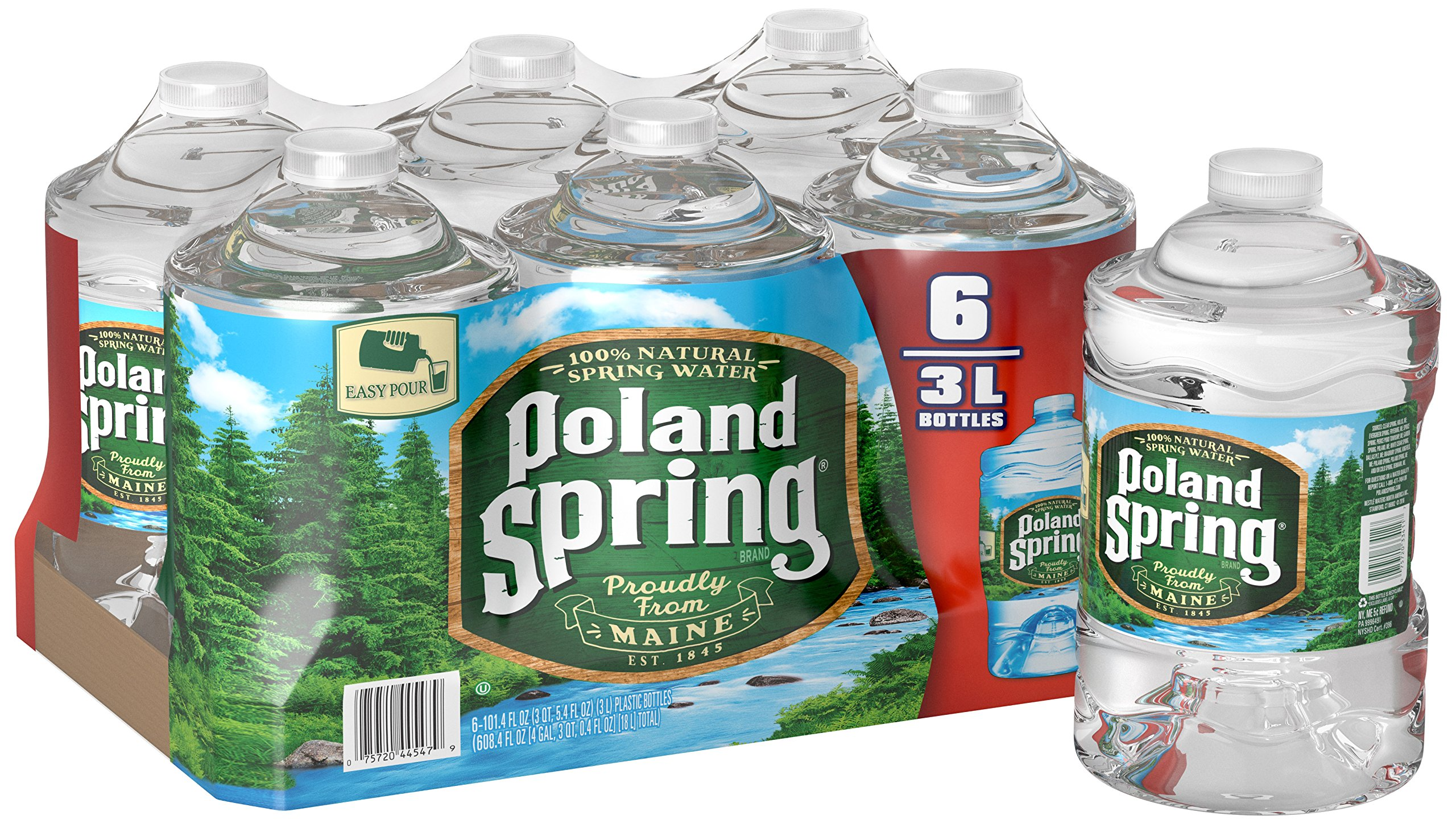 Poland Spring 100% Natural Spring Water, 101.4 Fluid Ounce (Pack of 6) by Poland Spring
