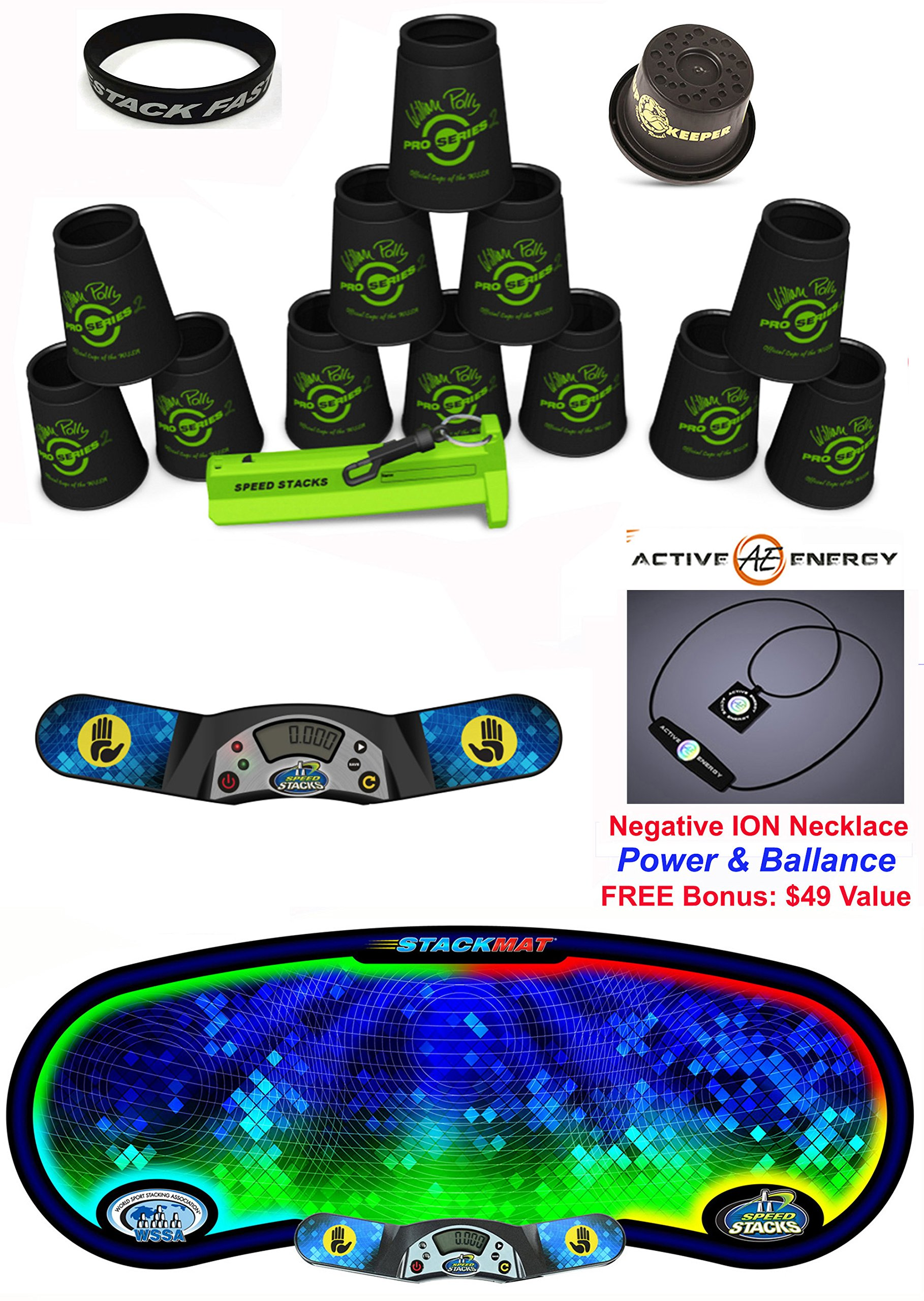 Speed Stacks Custom Combo Set: 12 PRO Series BLACK 4'' Cups, Cup Keeper, Quick Release Stem, Pro Timer, Gen 3 Mat, ''Stack Fast'' Wristband + FREE Bonus: Active Energy Power & Balance Necklace $49 Value