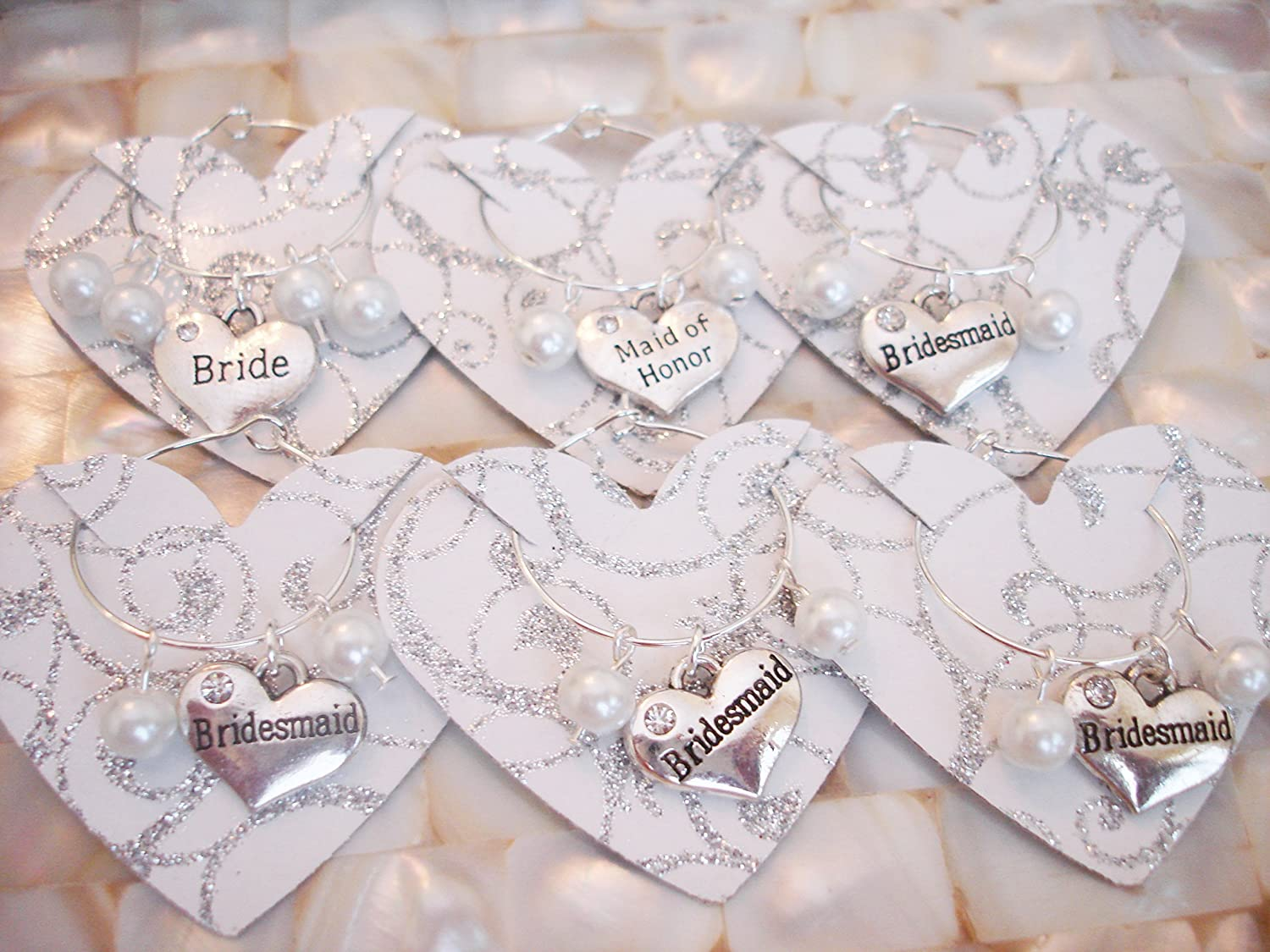 Amazon.com: Wedding Wine Glass Charms, Bridal Party Favor: Handmade