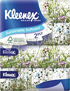 Kleenex Ultra Soft Facial Tissue 2 PLY (Soft Box), Garden, 180ct (Pack of 4)