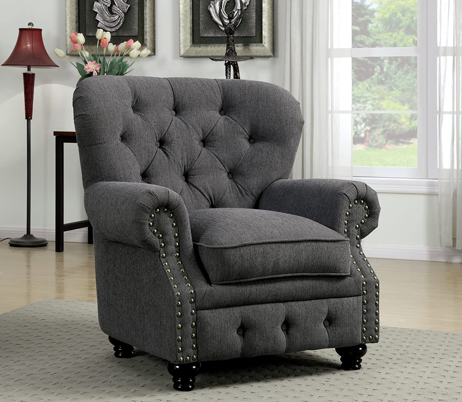 Furniture of America Linden Traditional Arm Chair, Gray