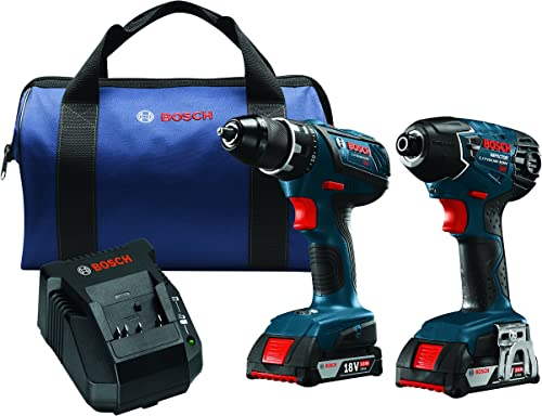 Bosch CLPK232A-181-RT 18-Volt Cordless Drill Driver Impact Combo Kit with 2 Batteries 2.0 AH Slim Pack Batteries , 18V Charger and Blue Carrying Case Certified Refurbished