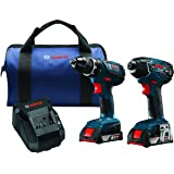 Bosch CLPK232A-181-RT 18-Volt Cordless Drill Driver / Impact Combo Kit with 2 Batteries (2.0 AH Slim Pack Batteries), 18V Charger and Blue Carrying Case (Certified Refurbished)