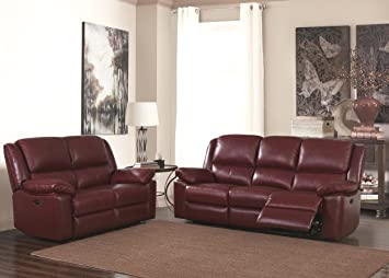 Burgundy Red High Grade Leather Electric Reclining 3 Seater Sofa 2