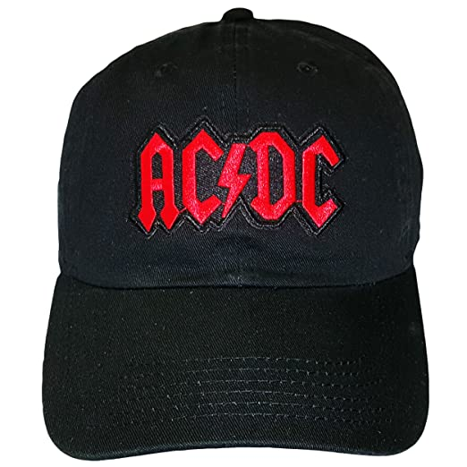 d5e519a097f Image Unavailable. Image not available for. Color  Black AC DC Adjustable  Dad Hat Strapback Patch