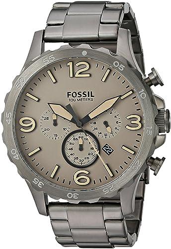 Fósil de Hombre jr1523 Nate Cronógrafo Humo Acero Inoxidable Reloj: Amazon.es: Relojes