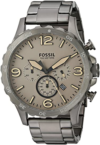 6de7d7329f02 Fossil Men s JR1523 Nate Chronograph Smoke Stainless Steel Watch  Fossil   Amazon.ca  Watches