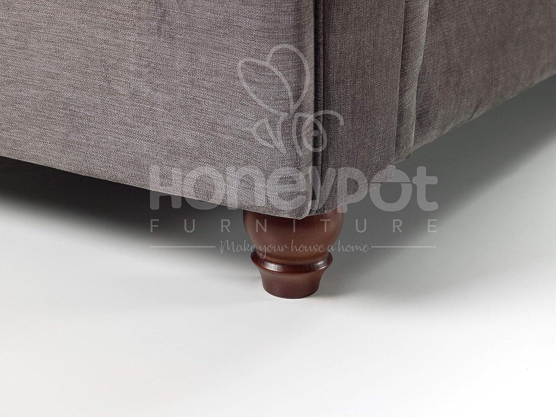 Honeypot - Sofa - Windsor - Corner Sofa - Footstool - Grey Fabric (2 Seater Sofa)