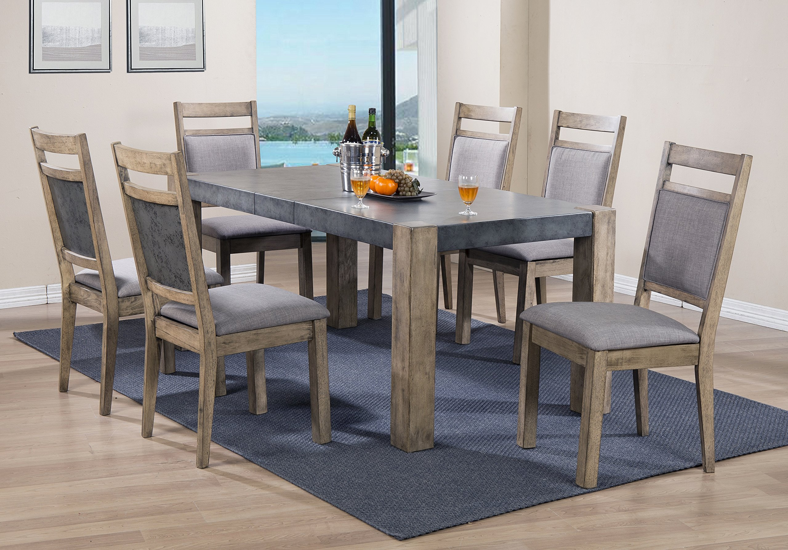 Roundhill Furniture D725-7PC Costabella Dining Collection 7 PC Set, Table with 6 Chairs